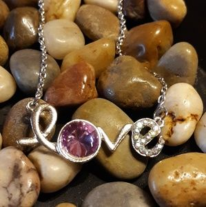 Silver Tone LOVE Necklace with Purple Gemstone